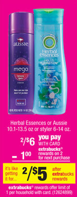 Herbal Essences or Aussie Sale (CVS 6-23)