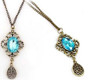 Amazon Artificial Sapphire Water-Drop Necklace