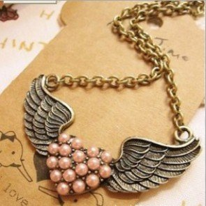 Amazon Vintage Pink Heart with Wings Necklace