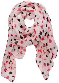 Amazon Hearts Chiffon Scarf