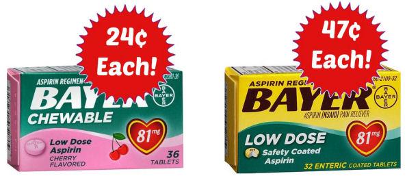 Bayer Aspirins As Low As 24¢ Each!