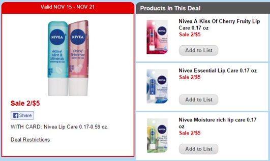 Nivea Lip products