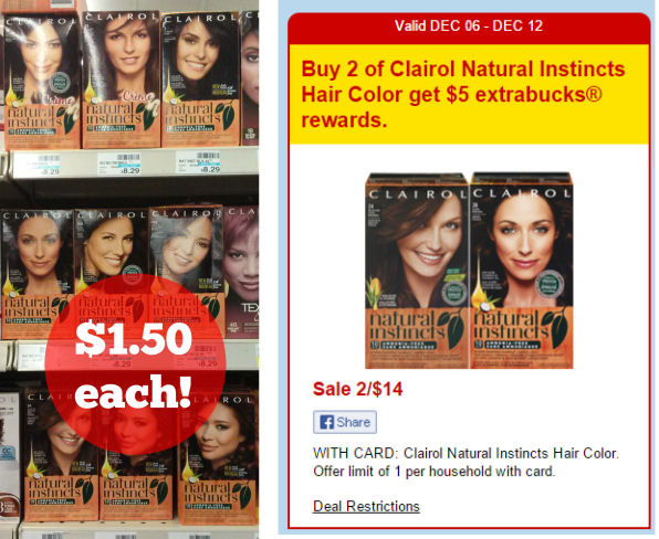 Clairol Natural Instincts Just $1.50 Each!