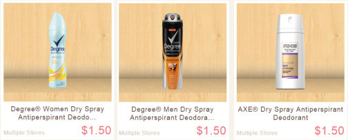 Degree & Axe Dry Sprays Just 67¢ Each!