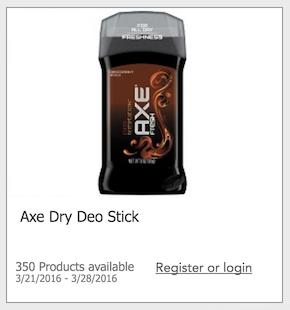 Free Axe Deodorant