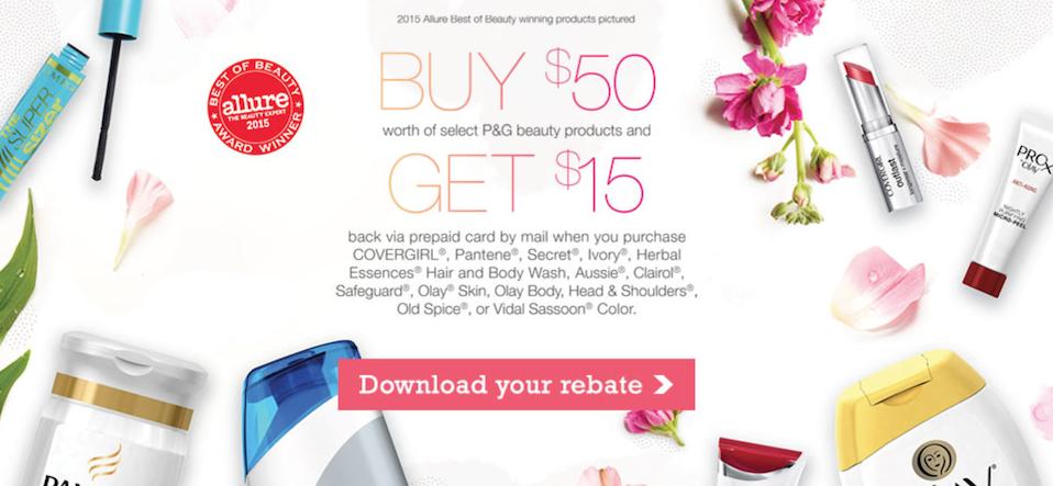 New P&G Beauty Rebate: Get $15 wyb $50