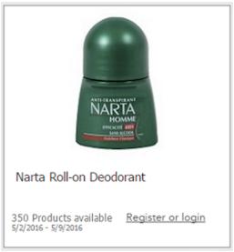 Narta free deodorant
