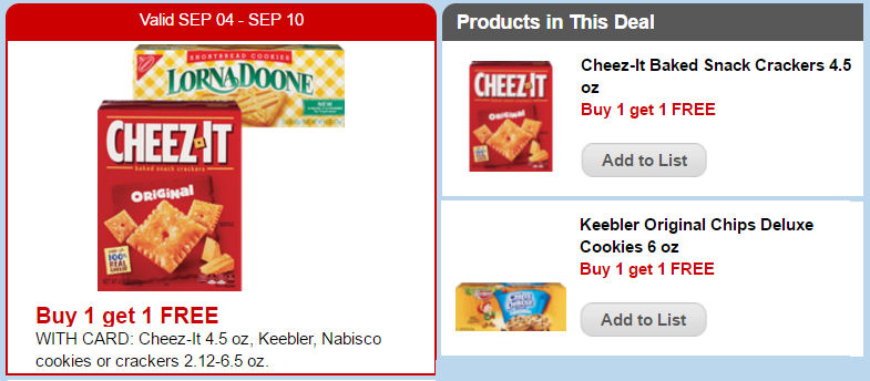Cheez it &  Keebler deal