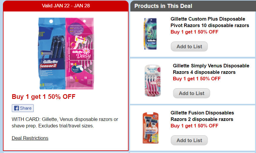 Gillette venus razor coupons printable