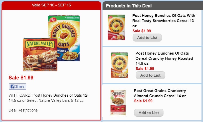 honey bunches and great grains deals