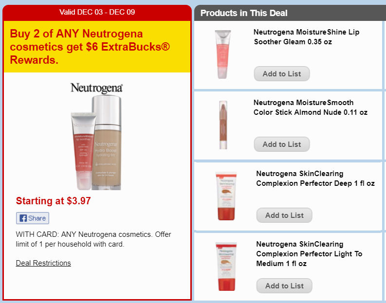 neutrogena cosmetics ecb deal